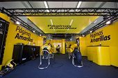 VALENCIA, SPAIN - NOVEMBER 5: Paginas Amarillas Team Box in MOTOGP Grand Prix of the Comunitat Valen