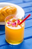Mango Smoothie In A Glass Glass And Mango On A Blue Background. Mango Shake. Tropical Fruit Concept. poster