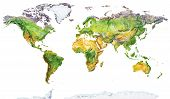 Watercolor Geographical Map Of The World. Physical Map Of The World. Realistic Image. Isolated On Wh poster