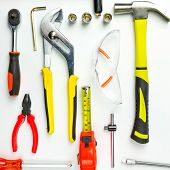 Set Of Construction Tools On White Background As Wrench, Hammer, Pliers, Socket Wrench, Spanner, Tap poster