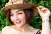Portrait Charming Beautiful Woman: Attractive Asian Woman Has Nice Smile When Pretty Woman Smile Tha poster