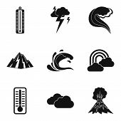 Meteorological Office Icons Set. Simple Set Of 9 Meteorological Office Vector Icons For Web Isolated poster