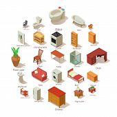 Domestic Furniture Icons Set. Isometric Illustration Of 25 Domestic Furniture Vector Icons For Web poster