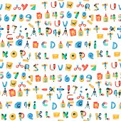 Alphabet Stationery Letters Vector Abc Font Alphabetic Icons Of Office Supply And School Tools Acces poster