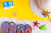 May 19th. Image Of May 19 Calendar With Summer Beach Accessories. Spring Like Summer Vacation Concep poster