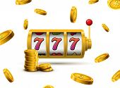 Slot Machine Lucky Sevens Jackpot Concept 777. Vector Casino Game. Slot Machine With Money Coins. Fo poster