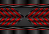 Red And Black Glossy Arrows Abstract Tech Background. Dark Metal Futuristic Vector Design poster