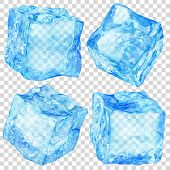 Set Of Four Realistic Translucent Ice Cubes In Light Blue Color Isolated On Transparent Background.  poster