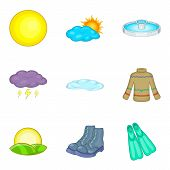 Climate Adaptation Icons Set. Cartoon Set Of 9 Climate Adaptation Vector Icons For Web Isolated On W poster
