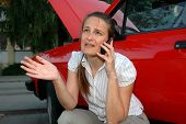 Young Woman With Car Problems