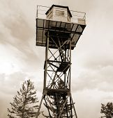 Tower.  Sepia.