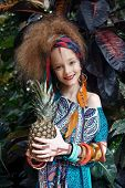 A Beautiful Little Girl With Ananas Wearing Native Costume In The Jungle Or Rainforest poster