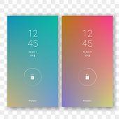 Mobile Screen Lock Display With Abstract Gradient Wallpaper Background. Vector Smartphone Screenlock poster