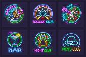 Set Of Neon Signs For Nighttime Entertainment Facilities. Karaoke Bar, Bowling Club, Darts, Striptea poster