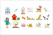 Professional Vet Doctor And Domestic Animals Set, Veterinary Care Vector Illustrations Isolated On A poster