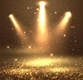 Glittering Dust Spotlight, Stage Light With Shiny Particles On The Floor. Vector Eps10. poster