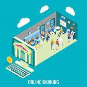 Online Banking Vector Flat 3d Isometric Illustration. Desktop Computer With Bank Building, Bank Empl poster