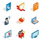 Hardware Address Icons Set. Isometric Set Of 9 Hardware Address Vector Icons For Web Isolated On Whi poster