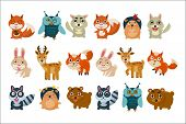Colorful Collection Of Different Forest Animals. Funny Cartoon Characters. Graphic Elements For Chil poster