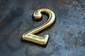Number Two, 2 Greeting Card, 2 Number, Volume Figure 2 Year, 2 Year Anniversary Gold Logo, Template  poster