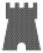 Halftone Hexagonal Bulwark Tower Icon. Pictogram On A White Background. Vector Concept Of Bulwark To poster