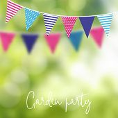 Birthday Garden Party Or Brazilian June Party. Vector Illustration With Garland Of Party Flags And B poster