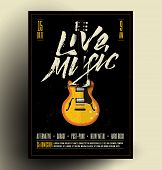 Vintage Styled Retro Live Rock Music Party Or Event Poster, Flyer, Banner. Vector Template With Guit poster