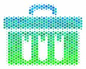 Halftone Dot Analysis Pictogram. Pictogram In Green And Blue Shades On A White Background. Vector Co poster