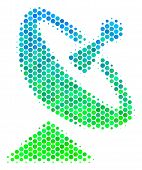 Halftone Dot Antenna Pictogram. Pictogram In Green And Blue Color Hues On A White Background. Vector poster