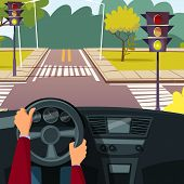 Vector Cartoon Man Hands On Car Wheel Driving Vehicle On Street Crossroad Background. Behind The Ste poster