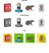 Staff, Packing With Poison And Pests Cartoon, Flat, Monochrome Icons In Set Collection For Design.pe poster