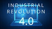 Fourth industrial revolution on futuristic hud background with laptop and blockchain polygon peer to poster
