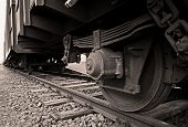 Train wheel and rails