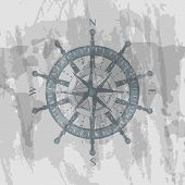 Detailed Antique Compass Windrose On Grunge Background Of World Map. Geography Research, Worldwide T poster