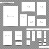 White Print Sizes Advertisement Empty Template Set. Booklet Leaflet Brochure With Shadow On Transpar poster