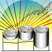 foto of steelpan  - Vector Illustration of three variations of Steel Pan Drums invented in Trinidad and Tobago - JPG