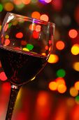 Red Wine And Christmas Lights
