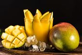 Glass Of Mango Juice And Mango On Wooden Table Background With Ice. Resfreshment Summer Drink. Selec poster