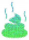 Halftone Round Spot Shit Smell Pictogram. Pictogram In Green And Blue Color Tinges On A White Backgr poster