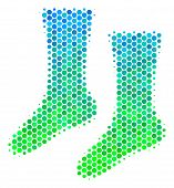 Halftone Round Spot Socks Pictogram. Pictogram In Green And Blue Shades On A White Background. Vecto poster