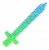 Halftone Round Spot Sword Pictogram. Pictogram In Green And Blue Shades On A White Background. Vecto poster