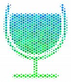 Halftone Dot Wine Glass Pictogram. Pictogram In Green And Blue Color Hues On A White Background. Vec poster
