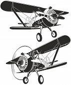 foto of biplane  - Vector retro biplane silhouettes isolated on white - JPG