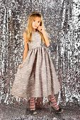 Little Girl In Fashionable Dress, Prom. Fashion And Beauty, Little Princess. Child Girl In Stylish G poster