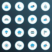 Weather Icons Colored Set With Wind, Moon, Breeze And Other Cold Weather Elements. Isolated  Illustr poster