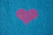 Background Texture Wall Plaster Barbed Not Equal Blue Putty Outside Heart Love Pink poster