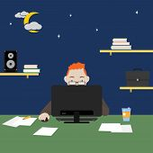 Man Working Or Study On Computer At Night, Freelance, Work  At Home And Remote Work. Vector Illustra poster