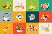 Cartoon Set Of Various Dishes And Beverages. Fresh Vegetables And Fruits. Tasty And Healthy Food. Ja poster