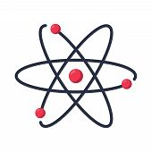 Atom Icon Vector Symbol. Chemistry And Science Research. Structure Of The Nucleus Of The Atom. Aroun poster
