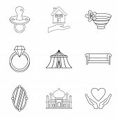 Wife Icons Set. Outline Set Of 9 Wife Vector Icons For Web Isolated On White Background poster